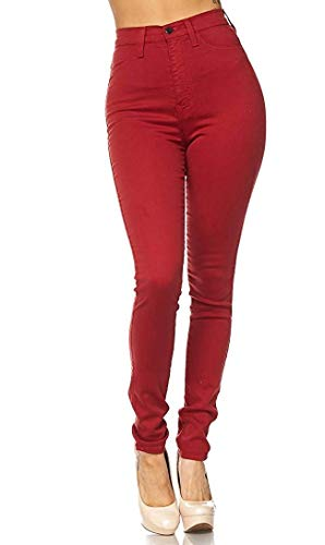 - Vibrant Women's Classic High Waist Denim Skinny Jeans (7, Red)