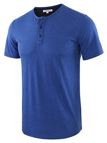 HARBETH Men's Casual Soft Athletic Regular Fit Short Sleeve Henley Jersey Shirt H.Blue/Navy XXL