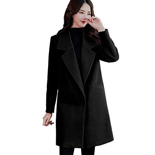 (Jiusike Women Black Solid Color Vintage Winter Single Breasted Woolen Jacket A-Shape Long Coat)