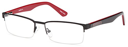 DALIX Boys Half Rim Prescription Glasses Frames Eyeglasses 54-17-145 (BlackRed)