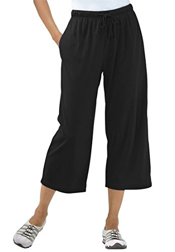 Women's Plus Size Capri Pants In Soft Sport Knit Black,3X