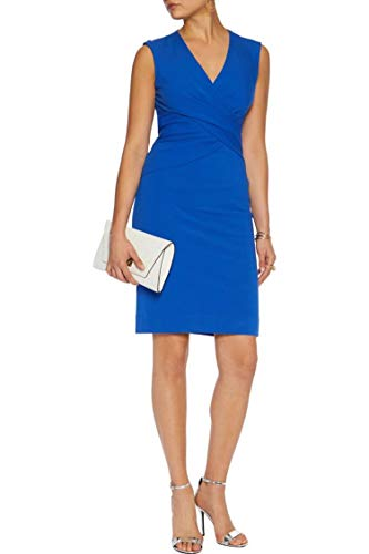 DVF Diane von Furstenberg Dress Leora Pleated Sleeveless Blue Size 12