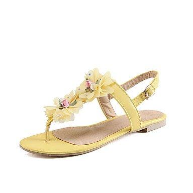 de Sandalias Mary piel color comodidad amarillo Jane Plantillas blanco de rojo vibrantes sintética plano tacón de Verano outddor Guantes vestido Mujer de rosa amarillo UqPOE