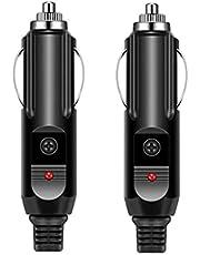 Halokny 2 Pack Cigarette Lighter Adapter 12V Car Cigarette Lighter Replacement Cigar Male Plug, with 15A Fuse and LED Light