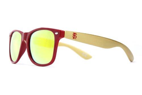 NCAA Garnet Front, Gold Temple, Gold Lenses - Florida State Sunglasses, FSU-3