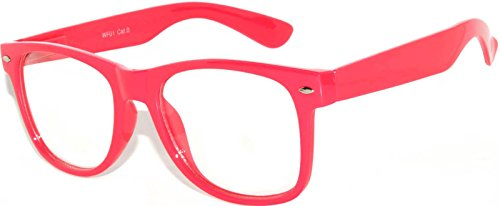 Nerd Retro Vintage Party Sunglasses Pink Hot Frame Clear Lens OWL -
