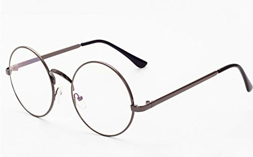 Lovef Large Oversized Metal Frame Clear Lens Round Circle Vintage Eye Glasses 5.42inch (Gray)