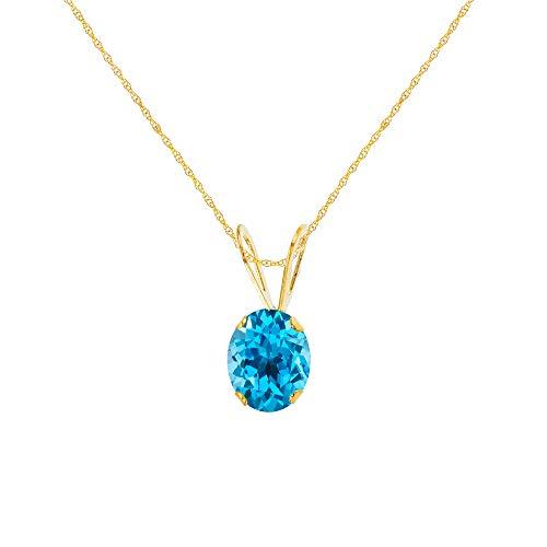 Topaz 10k Necklace Blue - Genuine 10K Solid Yellow Gold 7x5mm Oval Natural Swiss Blue Topaz December Birthstone 18