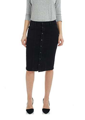 Esteez Women's Denim Pencil Skirt - Button Down Stretch Jean Montreal Black 12