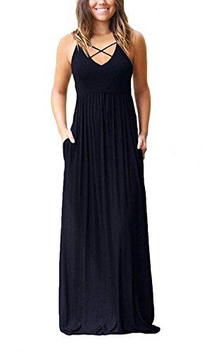LONGYUAN Women's Sleeveless Racerback Maxi Dresses with Pockets Plain Loose Long Dresses Navy Small