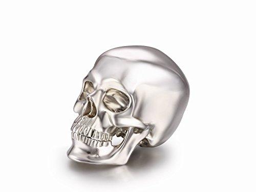"""Skullis 1.2"""" Solid Sterling Silver Skull Collectible Skeleton Decoration Statue. Hand Carved Fine Art Sculpture."""
