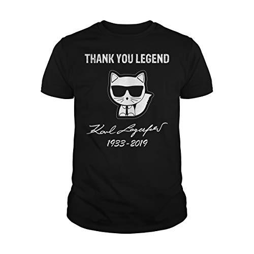 Zinko Men's Thank You Legend Karl Lagerfeld Choupette 1933-2019 T-Shirt (2XL, Black) -