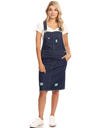 Blue Denim Jumper - Anna-Kaci Junior Womens Distressed Denim Adjustable Strap Overall Dress, Indigo, Large