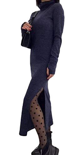 Coolred-femmes Col Haut À Manches Longues Découpe Robe Maxi Longue En Maille Équipée Motif1
