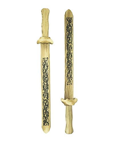 Warm Hearth Gifts Set of Two Wooden Toy Viking Swords with Norse Knotwork Wooden Sheath.