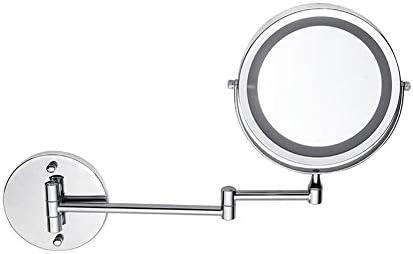 化粧鏡付きLEDライト折りたたみウォールマウントバニティミラー5X、360°のスイベルと拡張可能