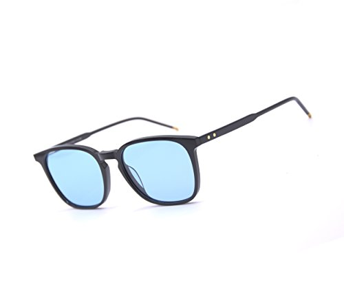 EyeGlow Sunglasses Men and Women Polarized lens Acetate Material SPIRAL (Black vs Blue tinted - Polarized Vs Tinted