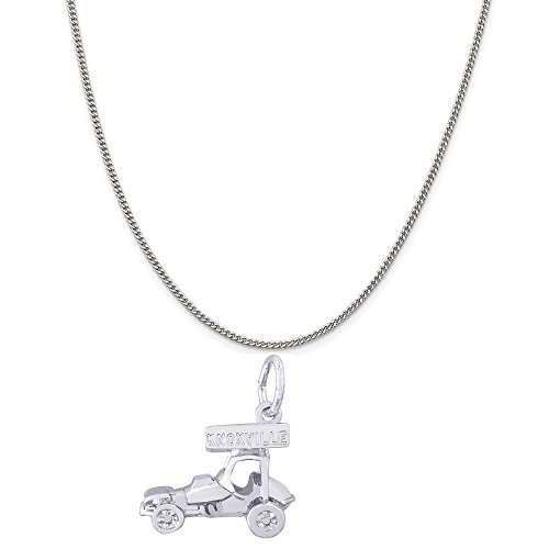 Rembrandt Charms Sterling Silver Knoxville Sprint Car Charm on a Curb Chain Necklace, 16