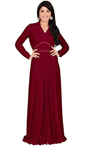 KOH KOH Plus Size Womens Long Sleeve Sleeves V-Neck Flowy Formal Casual Elegant Empire Evening Maternity Day Abaya Muslim Gown Gowns Maxi Dress Dresses, Crimson Red 2X 18-20 (3)