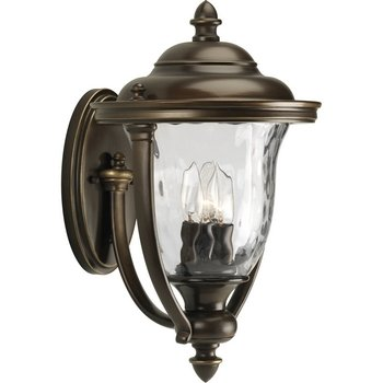 (Progress Lighting P5923-108 3-Light Large Wall Lantern with Unique Cast Yoke Straps and Water Glass Urn Shades, Oil Rubbed Bronze)