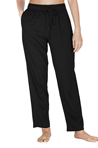 (WEWINK CUKOO Womens Pajama Pants Cotton Sleep Pants Stretch Knit Lounge Pants with Pockets (XL=US 16-18, Black 1))