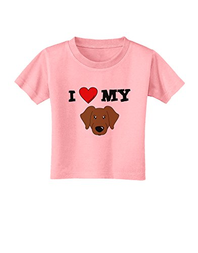 TooLoud I Heart My - Cute Chocolate Labrador Retriever Dog Toddler T-Shirt - Candy Pink - 3T ()