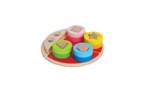 Hape Ladybug Shape Sorter Toddler Wooden Stacking Toy (Green Sorter Shape)
