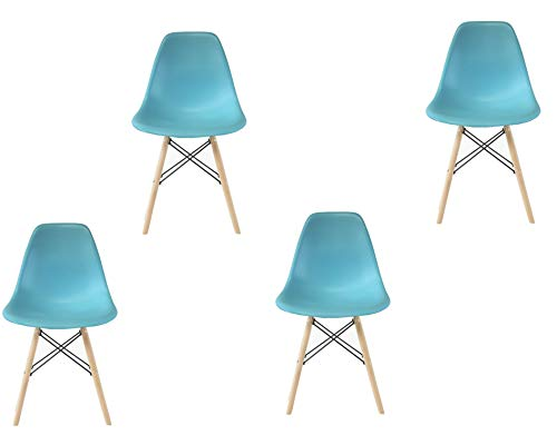 Plata Import PDI-PC-0116W Eames Style Side Chair with Natural Wood Legs Eiffel Dining Room Chair, Set of 4, Blue Plata Décor Import Inc