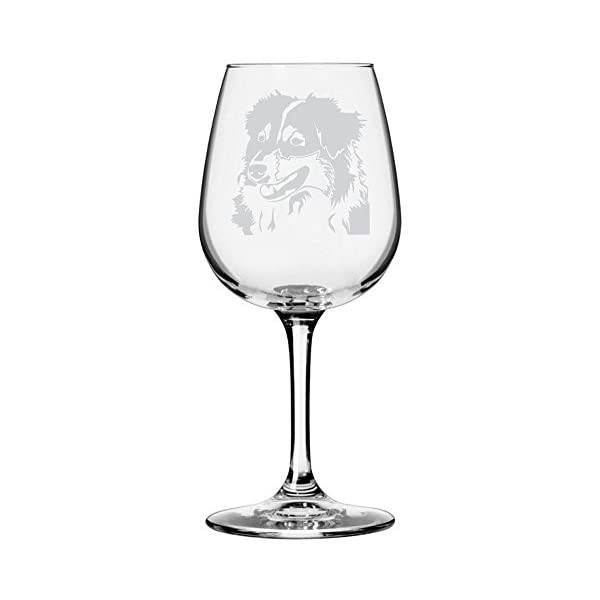 Australian Shepherd Dog Themed Etched All Purpose 12.75oz Libbey Wine Glass 1