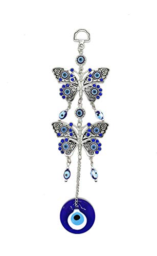 (Bravo Team Lucky Evil Eye and Butterfly Hanging Ornament for Protection and Blessing, Strength and Power, Pendant Decoration for Car, Home and Office, Great Gift)
