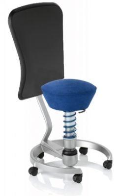 Aeris Swopper Classic - Bezug: Microfaser / Royal-Blau | Polsterung: Tempur | Fußring: Titan | Spezial-Rollen für Teppichböden | mit Lehne und schwarzem Microfaser-Lehnenbezug | Körpergewicht: MEDIUM