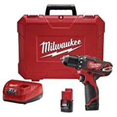 """Our M12 3/8"""" Drill/Driver Kit drills and fastens up to 35% faster than its competitors and is the only tool in its class that has an all-metal locking chuck. The powerful compact cordless drill driver delivers 275 INCH-LBS of torque – up to 2..."""