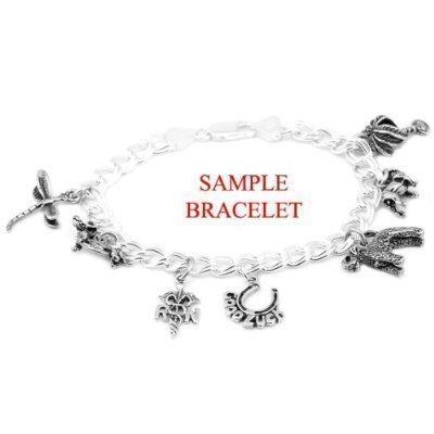 Sterling Silver Cheers Mug on 4 Millimeter Charm Bracelet