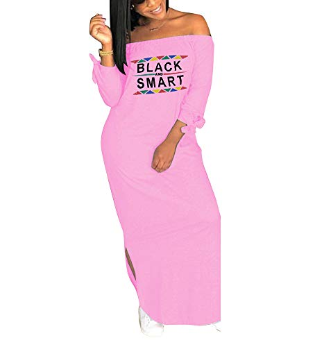 Womens Causal Off Shoulder Letter Print Long Sleeve T Shirt Maxi Dress with Slit Pink