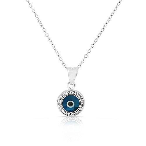 Necklace 925 Silver Glass - 925 Sterling Silver Greek Key Light Blue Glass Two-Sided Womens Evil Eye Pendant Necklace