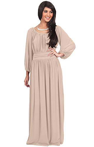 KOH KOH Plus Size Womens Long Sleeve Sleeves Vintage Peasant Empire Waist Fall Loose Flowy Fall Winter Casual Maternity Abaya Gown Gowns Maxi Dress Dresses, Tan Light Brown 3XL 22-24 ()