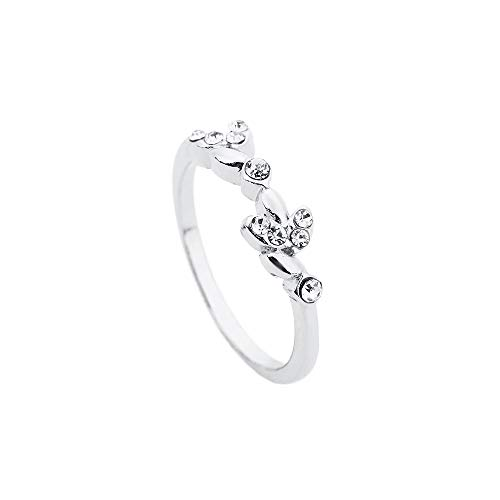 Balakie Ring, Floral Rhinestone Encrusted Ring Stylish Ring Engagement Jewelry Fine (Silver,8#)