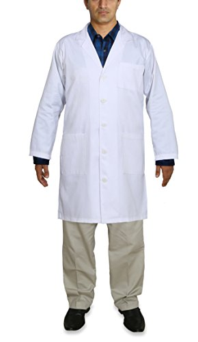 Professional Men Lab Coat (White, Small) For Laboratory With 5 Button Closure, 41 Inch Kick Pleat – Poly Cotton Material by Utopia Wear (Image #5)