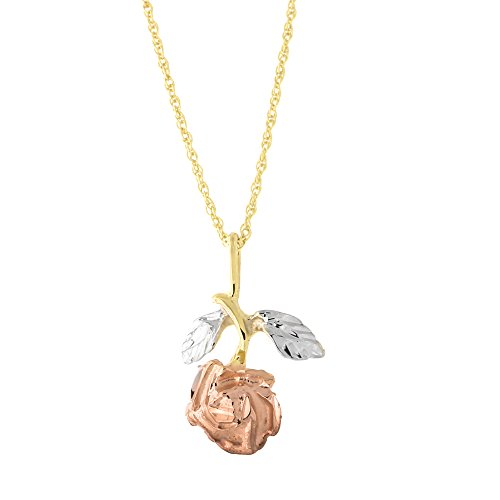 14k Yellow, White and Rose Gold Tri-color Single Rose Pendant Necklace, 16 inches (Rose 14k White Yellow)