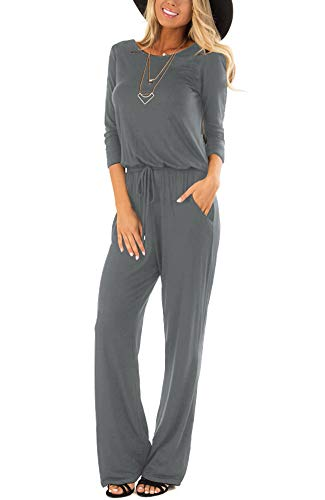 LACOZY Womens 3/4 Sleeve Round Neck Casual Loose Wide Legs Pants Jumpsuits Romper with Pockets Deep Gray Small