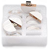 SameDayFlash 128MB USB 2.0 Flash Drive - 10 PCS BULK Wooden Round Orchard Maple Design - Stained in Wedding White