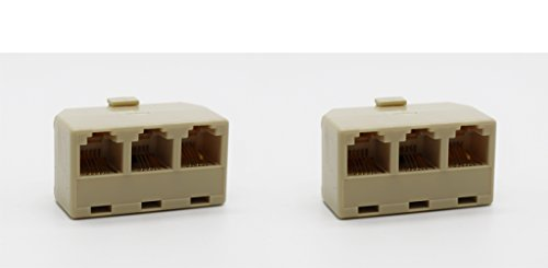 RJ11 6P4C 3 Way Telephone Wire Splitter Pack of 2