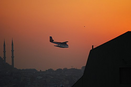 Home Comforts Peel-n-Stick Poster of Turkey Sunset Seaplane Seevogel Istanbul Poster 24x16 Adhesive Sticker Poster Print