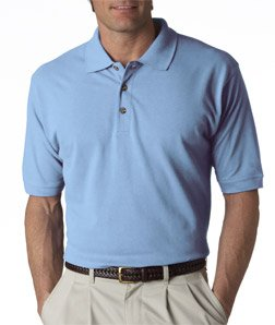 (UltraClub Men's Relaxed Fit Taped Neck Pique Polo Shirt, X Large, Baby Blue )