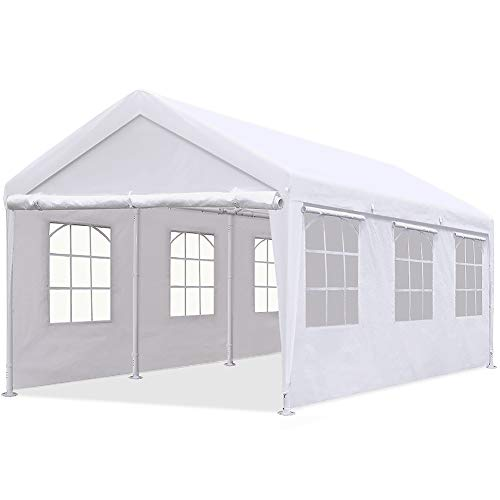 Quictent 10'x20' Heavy Duty Carport Gazebo Canopy Garage Car Shelter White (with Windows) (2 Carport Canopy)