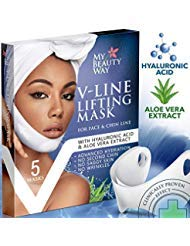V Line Mask Chin Up Patch Double Chin Reducer Chin Mask V Up Contour Tightening Firming Face Lift Tape Neck Mask V-Line Lifting Patches V Shaped Slimming Face Mask 5 pcs (Best Night Cream For Aging Skin 2019)