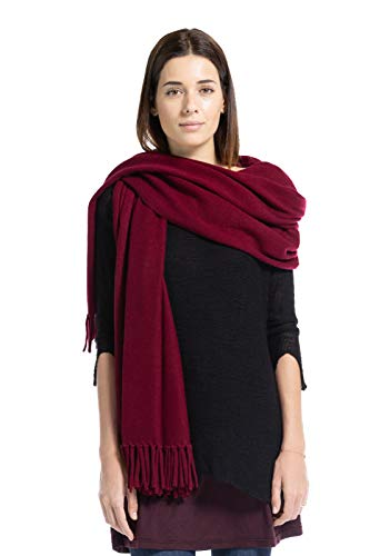 Fishers Finery Women's 100% Cashmere Wrap Shawl with Fringe (Cabernet)