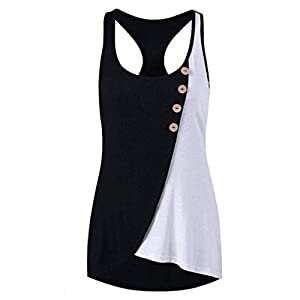 WOCACHI Womens Tank Tops Round Neck Button Sleeveless Contrast Stitching Vests Girlfriend Gift Clearance Sale Under 5 10 Fashion Newest Low Price Surprise