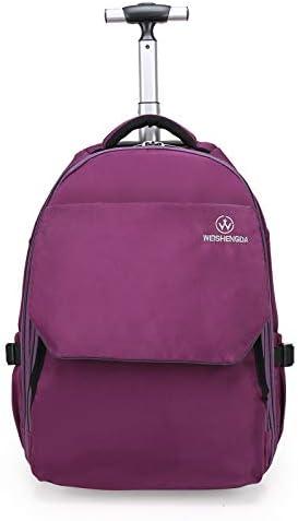 WEISHENGDA Mochila con Ruedas a Prueba de Agua con Ruedas de 19 Pulgadas para Mochila Escolar para niños y niñas, púrpura
