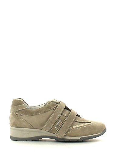 Keys Sneaker schuhe Damen Wedge Erhohen cm 3,5 Suede/leinwand velco/strappi Beige Beige